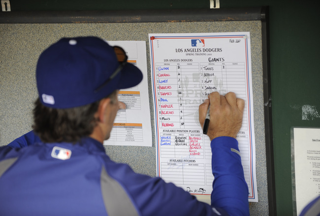 SCOTTSDALE, AZ - FEBRUARY 26: Bench coach Trey Hillman of the Los Angeles Dodgers fills out the lineup card before a spring training game the San Francisco Giants at Scottsdale Stadium on February 26, 2011 in Scottsdale, Arizona. (Photo by Rob Tringali/Ge