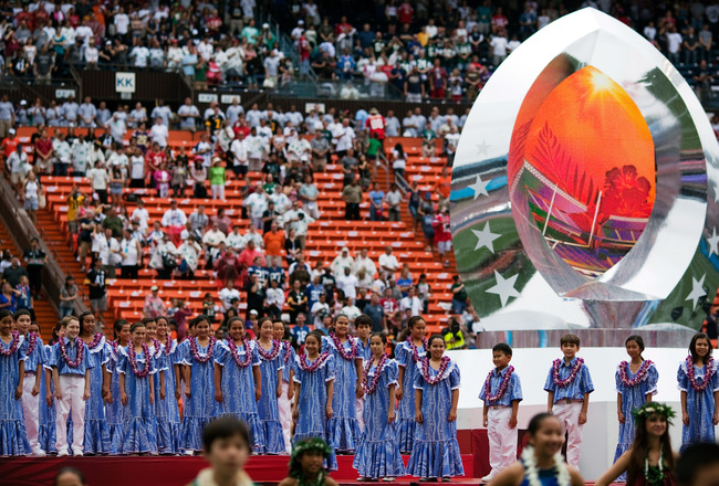 HONOLULU - JANUARY 30:  The Kamehameha Schools Children's Choir during the 2011 NFL Pro Bowl pre-game between the American Football Conference (AFC) and National Football Conference (NFC) at Aloha Stadium show at Aloha Stadium on January 30, 2011 in Honol