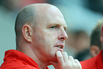 MORECAMBE, UNITED KINGDOM: - JULY 16: Steve Kean manager of Blackburn Rovers during the pre season friendly match between Accrington Stanley and Blackburn Rovers at the Globe Arena on July 16, 2011 in Morecambe, England. (Photo by Clint Hughes/Getty Image