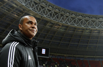 MOSCOW, RUSSIA - APRIL 10: Head coach Ruud Gullit of FC Terek Grozny looks on during the Russian Football League Championship match between FC Spartak and FC Terek Grozny at the Luzhniki Stadium on April 10, 2011 in Moscow, Russia.  (Photo by Dmitry Korot