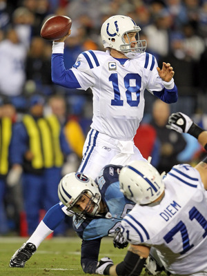 NASHVILLE, TN - DECEMBER 09:  Peyton Manning #18 of the Indianapolis Colts throws a pass during the NFL game against the Tennessee Titans  at LP Field on December 9, 2010 in Nashville, Tennessee.  (Photo by Andy Lyons/Getty Images)