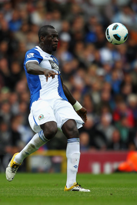 BLACKBURN, ENGLAND - MAY 14:  Chris Samba of Blackburn clears the ball during the Barclays Premier League match between Blackburn Rovers and Manchester United at Ewood park on May 14, 2011 in Blackburn, England.  (Photo by Dean Mouhtaropoulos/Getty Images