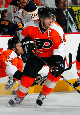 PHILADELPHIA, PA - APRIL 16:  Mike Richards #18 of the Philadelphia Flyers skates in Game Two of the Eastern Conference Quarterfinals against the Buffalo Sabres during the 2011 NHL Stanley Cup Playoffs at Wells Fargo Center on April 16, 2011 in Philadelph