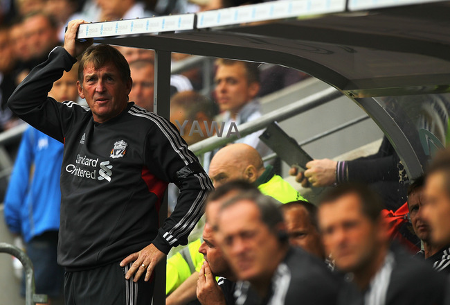 HULL, ENGLAND - JULY 23:  Kenny Dalglish, manager of Liverpool looks on from the bench during the Pre Season Friendly match between Hull City and Liverpool at KC Stadium on July 23, 2011 in Hull, England.  (Photo by Matthew Lewis/Getty Images)