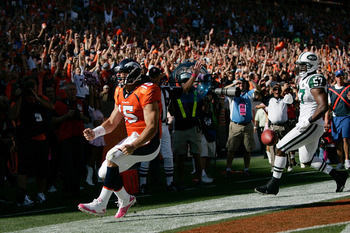 Tebow rushes for a touchdown against the Jets in 2010. Will he have a chance to repeat?