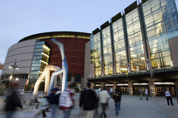 DENVER - OCTOBER 4:  An exterior view of the Pepsi Center taken before opening night for the Dallas Stars at the Colorado Avalanche on October 4, 2006 in Denver, Colorado. (Photo by Brian Bahr/Getty Images)