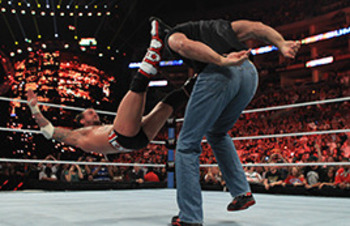 Kevin Nash delivers a thunderous powerbomb to CM Punk