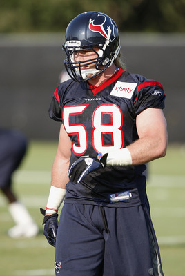 HOUSTON, TX - AUGUST 01:  Linebacker Brooks Reed #58 of the Houston Texans during practice on the first day of training camp at Reliant Park on August 1, 2011 in Houston, Texas.  (Photo by Bob Levey/Getty Images)