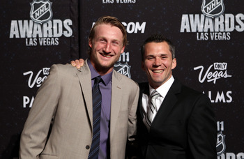 LAS VEGAS, NV - JUNE 22:  Steven Stamkos and Martin St. Louis of the Tampa Bay Lightning arrive at the 2011 NHL Awards at the Palms Casino Resort June 22, 2011 in Las Vegas, Nevada.  (Photo by Bruce Bennett/Getty Images)
