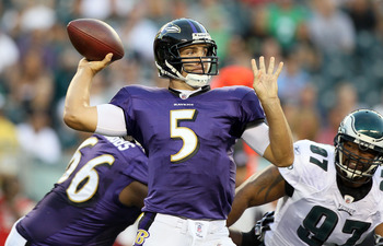 PHILADELPHIA, PA - AUGUST 11:  Joe Flacco #5 of the Baltimore Ravens throws a pass against the Philadelphia Eagles during their pre season game on August 11, 2011 at Lincoln Financial Field in Philadelphia, Pennsylvania.  (Photo by Jim McIsaac/Getty Image