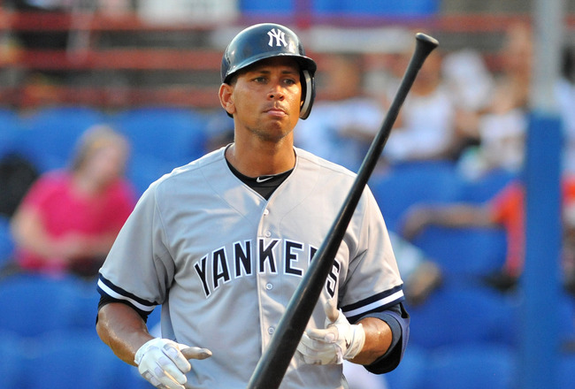 DUNEDIN, FL - AUGUST 12:  Designated hitter Alex Rodriguez of the Tampa Yankees strikes out in the fifth inning against the Dunedin Blue Jays  August 12, 2011 at Florida Auto Exchange Stadium in Dunedin, Florida. Rodriguez played during a rehabilitation a