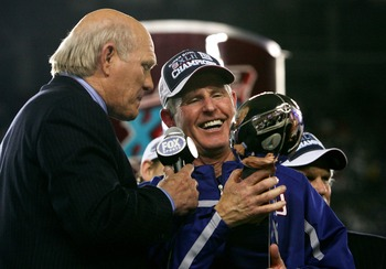 GLENDALE, AZ - FEBRUARY 03:  Head coach Tom Coughlin of the New York Giants holds the Vince Lombardi Trophy as he is interviewed by Terry Bradshaw after his team defeated the New England Patriots 17-14 after Super Bowl XLII on February 3, 2008 at the Univ