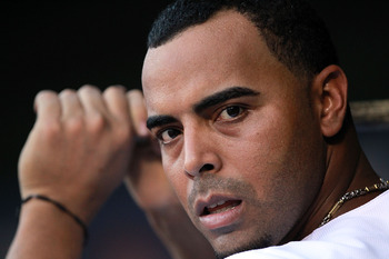 ARLINGTON, TX - AUGUST 07:  Nelson Cruz #17 of the Texas Rangers at Rangers Ballpark in Arlington on August 7, 2011 in Arlington, Texas.  (Photo by Ronald Martinez/Getty Images)