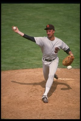 1990:  Pitcher Ed Whitson of the San Diego Padres throws a pitch during a game at Jack Murphy Stadium in San Diego, California. Mandatory Credit: Ken Levine  /Allsport