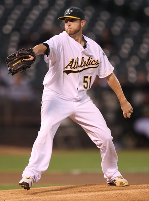 OAKLAND, CA - SEPTEMBER 23:  Dallas Braden #51 of the Oakland Athletics pitches against the Texas Rangers during a Major League Baseball game at the Oakland-Alameda County Coliseum on September 23, 2010 in Oakland, California.  (Photo by Jed Jacobsohn/Get