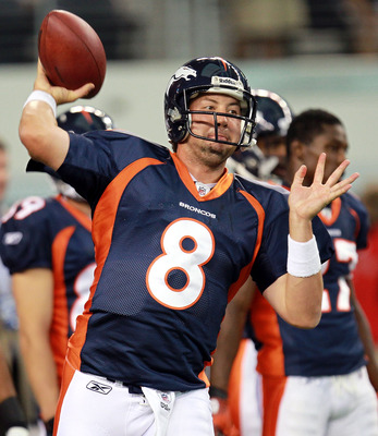 ARLINGTON, TX - AUGUST 11:  Kyle Orton #8 of the Denver Broncos at Cowboys Stadium on August 11, 2011 in Arlington, Texas.  (Photo by Ronald Martinez/Getty Images)