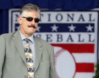 COOPERSTOWN, NY - JULY 24:  Hall of Famer Rollie Fingers is introduced at Clark Sports Center during the Baseball Hall of Fame induction ceremony on July 24, 2011 in Cooperstown, New York.  (Photo by Jim McIsaac/Getty Images)