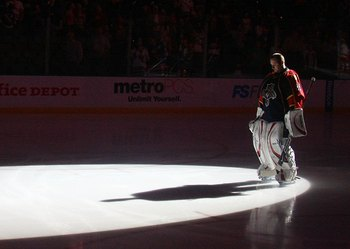 SUNRISE, FL - FEBRUARY 13: Tomas Vokoun #29 of the Florida Panthers stands at attention during the national anthem prior to his game against the New York Rangers on February 13, 2009 at the BankAtlantic Center in Sunrise, Florida. (Photo by Bruce Bennett/