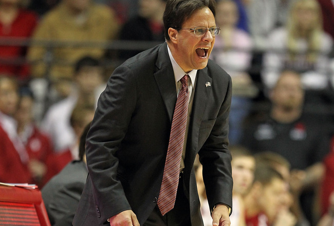 BLOOMINGTON, IN - DECEMBER 27:  Tom Crean the Head Coach of the Indiana Hoosiers gives instructions to his team during the Big Ten Conference game against the Penn State Nittany Lions on December 27, 2010 at Assembly Hall in Bloomington, Indiana.  (Photo