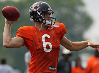 BOURBONNAIS, IL - AUGUST 06:  Jay Cutler #6 of the Chicago Bears passes the ball during a summer training camp practice at Olivet Nazarene University on August 6, 2011 in Bourbonnais, Illinois.  (Photo by Jonathan Daniel/Getty Images)