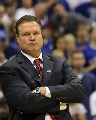 SAN ANTONIO, TX - MARCH 27:  Head coach Bill Self of the Kansas Jayhawks reacts during the southwest regional final of the 2011 NCAA men's basketball tournament against the Virginia Commonwealth Rams at the Alamodome on March 27, 2011 in San Antonio, Texa