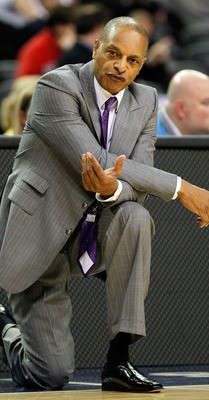 ATLANTA, GA - MARCH 10:  Head coach Trent Johnson of the LSU Tigers reacts during their game against the Vanderbilt Commodores in the first round of the SEC Men's Basketball Tournament at the Georgia Dome on March 10, 2011 in Atlanta, Georgia.  (Photo by