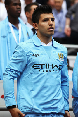 LONDON, ENGLAND - AUGUST 07:  Sergio Aguero of Manchester City looks on ahead of the FA Community Shield match sponsored by McDonald's between Manchester City and Manchester United at Wembley Stadium on August 7, 2011 in London, England.  (Photo by Clive