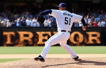 SAN DIEGO - AUGUST 5:  Closer Trevor Hoffman #51 of the San Diego Padres pitches during his team's game against the San Francisco Giants at Petco Park August 5, 2007 in San Diego, California.  (Photo by Donald Miralle/Getty Images)