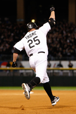 CHICAGO - SEPTEMBER 30:  Jim Thome #25 of the Chicago White Sox celebrates as he runs the bases after hitting a solo home run to give the White Sox a 1-0 lead in the bottom of the seventh inning against the Minnesota Twins during the American League Centr