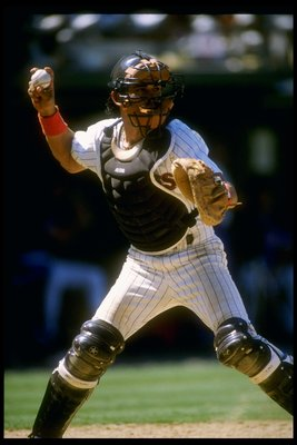 1989:  Catcher Benito Santiago of the San Diego Padres throws the ball during a game at Jack Murphy Stadium in San Diego, California.  Mandatory Credit: Stephen Dunn  /Allsport