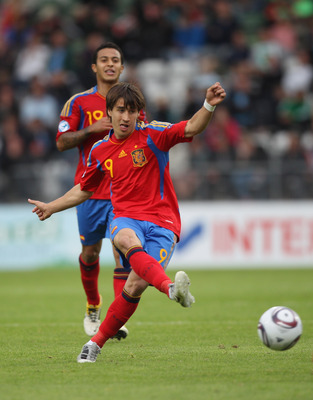 VIBORG, DENMARK - JUNE 22:  Bojan Krkic of Spain during the UEFA European Under-21 Championship semi-final match between Belarus and Spain at the Viborg Stadium on June 22, 2011 in Viborg, Denmark.  (Photo by Michael Steele/Getty Images)