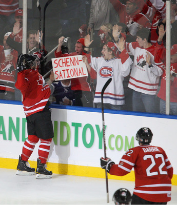 BUFFALO, NY - JANUARY 05: Brayden Schenn #10 of Canada celebrates scoring Canada's third goal against Russia during the 2011 IIHF World U20 Championship Gold medal game between Canada and Russia on January 5, 2011 in Buffalo, New York.  (Photo by Rick Ste