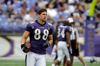 BALTIMORE, MD - AUGUST 06: Dennis Pitta #88 of the Baltimore Ravens looks on during training camp at M&amp;T Bank Stadium on August 6, 2011 in Baltimore, Maryland.  (Photo by Rob Carr/Getty Images)