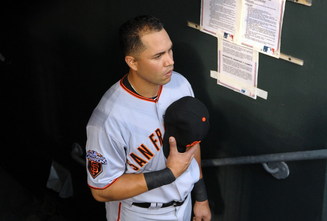 PHILADELPHIA, PA - JULY 28: Carlos Beltran #15 of the San Francisco Giants stands in the dugout for the national anthem before the game against the Philadelphia Phillies at Citizens Bank Park on July 28, 2011 in Philadelphia, Pennsylvania. (Photo by Drew