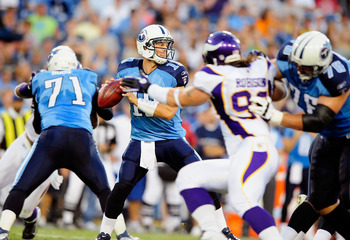 NASHVILLE, TN - AUGUST 13:  Quarterback Jake Locker #10 of the Tennessee Titans drops back to pass against the Minnesota Vikings during a preseason game at LP Field on August 13, 2011 in Nashville, Tennessee.  (Photo by Grant Halverson/Getty Images)