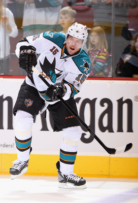 GLENDALE, AZ - MARCH 26:  Dany Heatley #15 of the San Jose Sharks warms up before the NHL game against the Phoenix Coyotes at Jobing.com Arena on March 26, 2011 in Glendale, Arizona.  The Sharks defeated the Coyotes 4-1.  (Photo by Christian Petersen/Gett