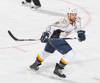 BUFFALO, NY - MARCH 20: Shea Weber #6 of the Nashville Predators skates against the Buffalo Sabres at HSBC Arena on March 20, 2011 in Buffalo, New York. Nashville won 4-3 in overtime.  (Photo by Rick Stewart/Getty Images)