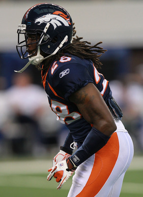 ARLINGTON, TX - AUGUST 11:  Quinton Carter #28 of the Denver Broncos at Cowboys Stadium on August 11, 2011 in Arlington, Texas.  (Photo by Ronald Martinez/Getty Images)