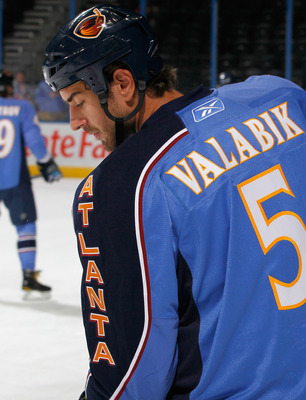 ATLANTA - SEPTEMBER 21:  Boris Valabik #5 of the Atlanta Thrashers against the Columbus Blue Jackets during the preseason opener at Phillips Arena on September 21, 2010 in Atlanta, Georgia.  (Photo by Kevin C. Cox/Getty Images)