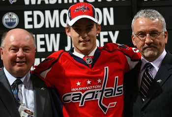OTTAWA, ON - JUNE 20:  21st overall pick, Anton Gustafsson of the Washington Capitals poses with team personnel after being selected in the 2008 NHL Entry Draft at Scotiabank Place on June 20, 2008 in Ottawa, Ontario, Canada.  (Photo by Bruce Bennett/Gett