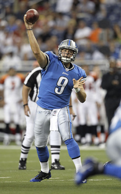 DETROIT - AUGUST 12:  Quarterback Matthew Stafford #9 of the Detroit Lions throws for a first quarter touchdown during the game against the Cincinnati Bengals at Ford Field on August 12, 2011 in Detroit, Michigan.  (Photo by Leon Halip/Getty Images)