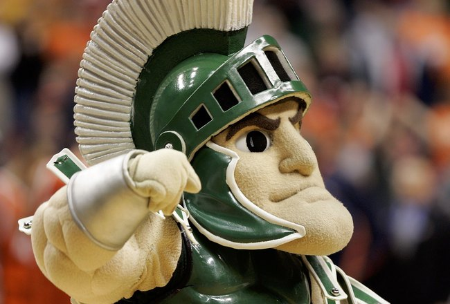 INDIANAPOLIS - MARCH 10:  Sparty, the mascot of the Michigan State Spartans, on the court in the game against the Illinois Fighting Illini during Day 2 of the Big 10 Tournament on March 10, 2006 at Conseco Fieldhouse in Indianapolis, Indiana. Michigan Sta