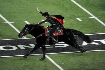 LUBBOCK, TX - NOVEMBER 08:  The Texas Tech Red Raiders Masked Rider during a game against the Oklahoma State Cowboys at Jones AT&amp;T Stadium on November 8, 2008 in Lubbock, Texas.  (Photo by Ronald Martinez/Getty Images)