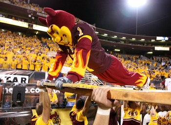 TEMPE, AZ - OCTOBER 13:  'Sparky' the Arizona State Sun Devils mascot does pushups in front of the student section after a Sun Devils' touchdown against the Washington Huskies on Ocotber 13, 2007 at Sun Devil Stadium in Tempe, Arizona.  Arizona State won
