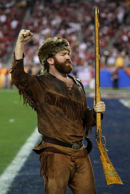 GLENDALE, AZ - JANUARY 02:  The mascot of the West Virginia Mountaineers fires up the crowd before the Mountaineers take on the Oklahoma Sooners at the Tostito's Fiesta Bowl at University of Phoenix Stadium January 2, 2008 in Glendale, Arizona.  (Photo by