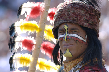 Florida State's Indian mascot, Chief Osceola, entertains during play against Rice September 23, 2006 at Doak Campbell Stadium in Tallahassee, Florida.  FSU won 55 - 7. (Photo by A. Messerschmidt/Getty Images) *** Local Caption ***