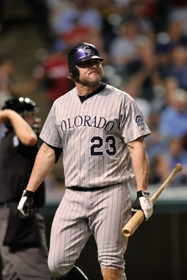 CLEVELAND, OH - JUNE 21:  Jason Giambi #23 of the Colorado Rockies grimaces after striking out to end the eigth inning against the Cleveland Indians at Progressive Field on June 21, 2011 in Cleveland, Ohio. Giambi had two doubles in Colorado's 4-3 win ove