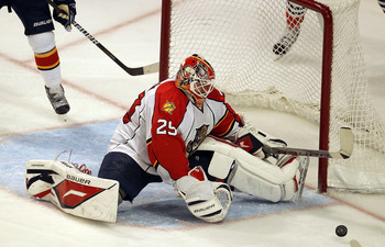 CHICAGO, IL - MARCH 23: Tomas Vokoun #29 of the Florida Panthers makes a save against the Chicago Blackhawks at the United Center on March 23, 2011 in Chicago, Illinois. The Blackhawks defeaeted the Panthers 4-0. (Photo by Jonathan Daniel/Getty Images)