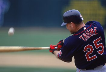 12 Apr 2000: Jim Thome #25 of the Cleveland Indians hits the ball during the game against the Oakland Athletics at the Network Associates Coliseum in Oakland, California. The Indians defeated the Athletics 4-0. Mandatory Credit: Jed Jacobsohn  /Allsport