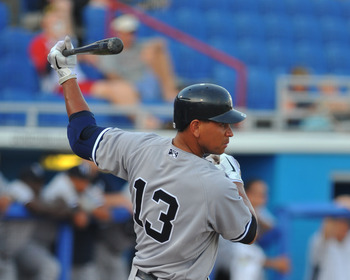 DUNEDIN, FL - AUGUST 12:  Designated hitter Alex Rodriguez #13 of the Tampa Yankees bats against the Dunedin Blue Jays  August 12, 2011 at Florida Auto Exchange Stadium in Dunedin, Florida. Rodriguez played during a rehabilitation assignment. (Photo by Al